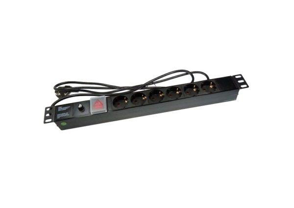 PDU Priza pentru rack 6x220V 19'' cu siguranta 6A, stecher si cablu NETLOG